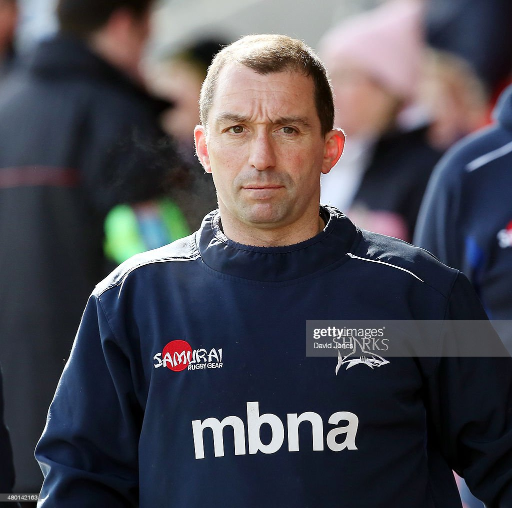 Sale Sharks Head Coach Bryan Redpath before the Aviva Premiership match between Sale Sharks and Northampton Saints at A J Bell Stadium on March 22, 2014 in Salford, England
