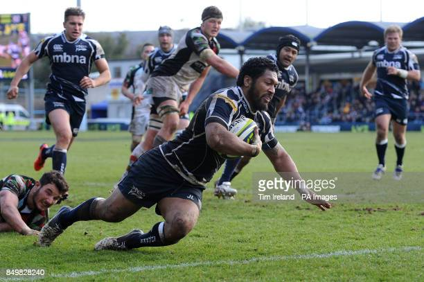 Sale Sharks' Johnny Leota scores a try in the LV=Cup Final at Sixways Stadium Worcester