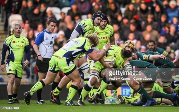 Sale Sharks' Josh Strauss carries the ball into a ruck during the Aviva Premiership match between Leicester Tigers and Sale Sharks at Welford Road on...