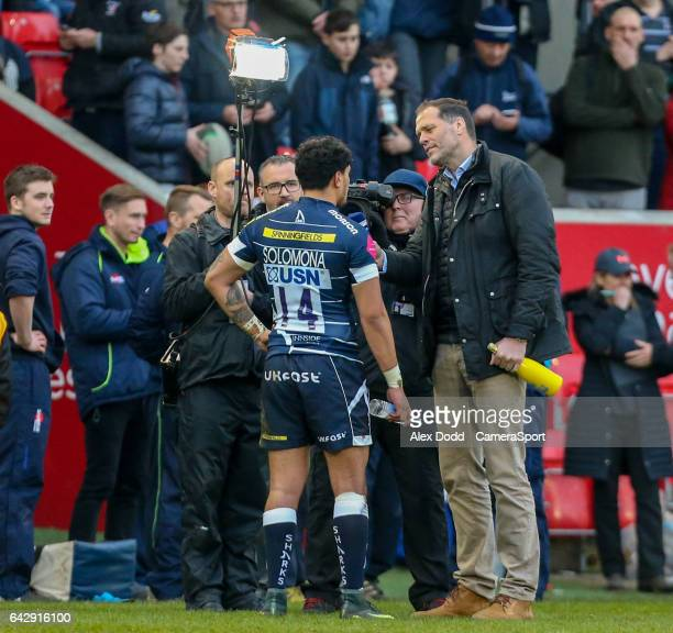 Sale Sharks' man of the match Denny Solomona is interviewed by Martin Bayfield after the game during the Aviva Premiership match between Sale Sharks...