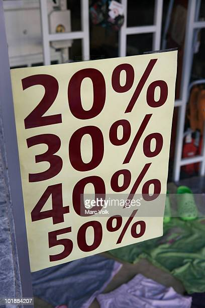 Sale sign in a store window