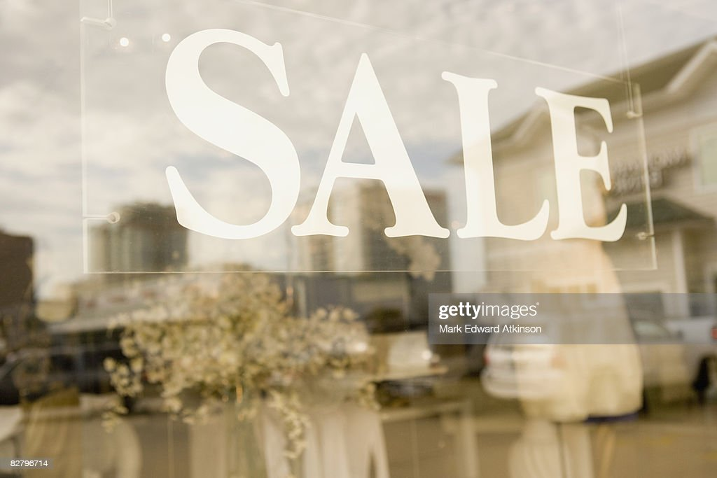 Sale sign in shop window