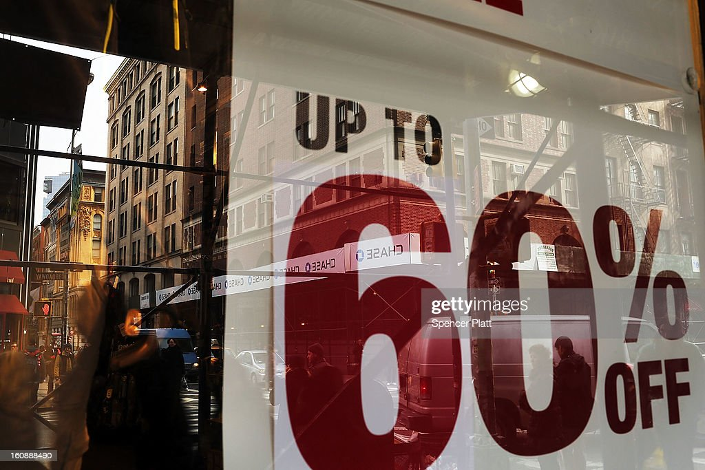 A sale sign sits in the window of a store along Broadway on February 7, 2013 in New York City. In another indicator of a slowly strengthening economy, chain stores including Macy's Inc., Target Corp and Gap Inc. reported today January sales that exceeded analysts' estimates.