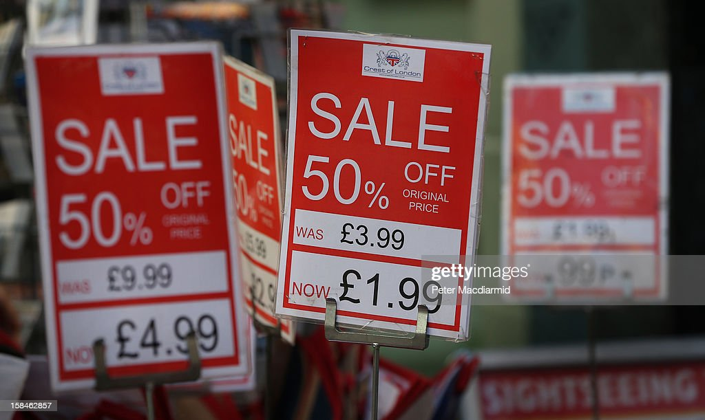 Sale signs are displayed in Oxford Street on December 17, 2012 in London, England. Thousands of shoppers are expected in London's west end in the hunt for Christmas bargains in the next week.
