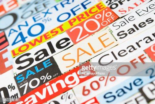 販売サイン、新聞やチラシ clippings V