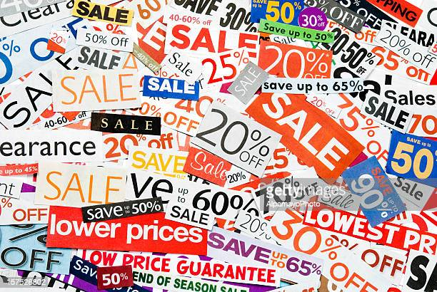 Sale signs, newspaper and flyers clippings - XIX