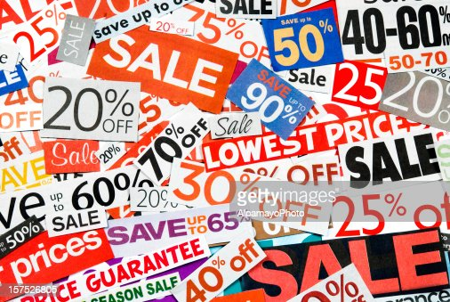 Sale signs, newspaper and flyers clippings - XX