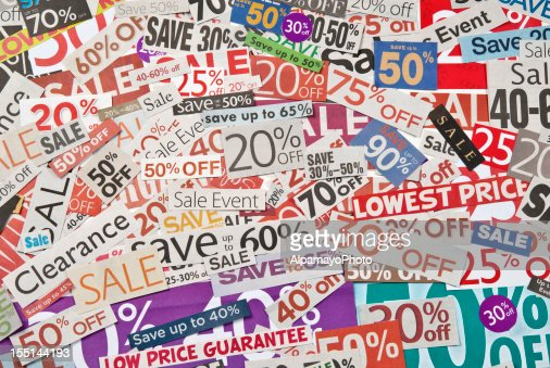 Sale signs, newspaper and flyers clippings - XXVII