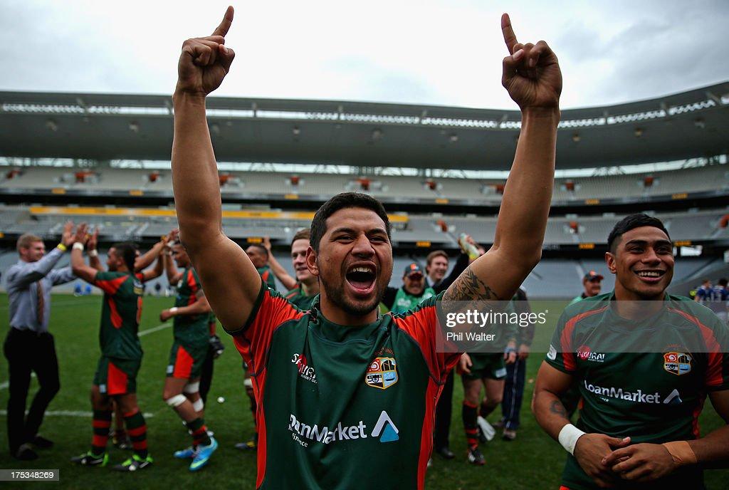 Saleaula Silipa of Pakuranga celebrates following the Gallaher Shield Final match between Pakuranga and University at Eden Park on August 3, 2013 in Auckland, New Zealand.