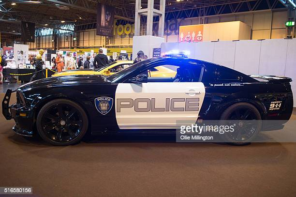 Saleen S281E police car used as the vehicle for Barricade a Decepticon scout from the Transformers series on display at Comic Con 2016 on March 19...