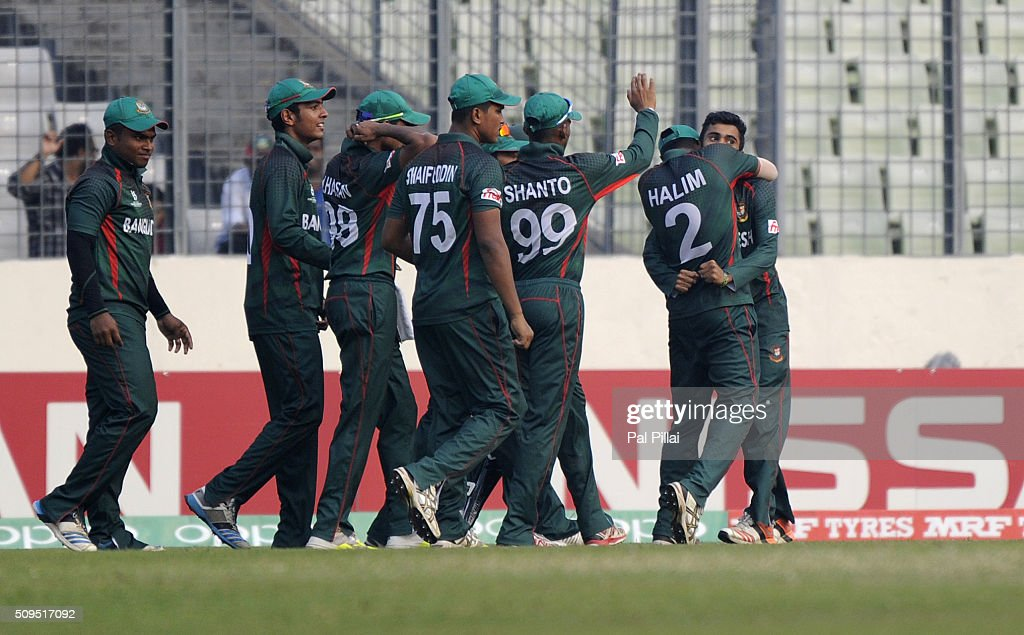Saleh Ahmed Shawon Gazi of Bangladesh U19 celebrates the wicket of Keemo Paul of West Indies U19 during the ICC U 19 World Cup Semi-Final match between Bangladesh and West Indies on February 11, 2016 in Dhaka, Bangladesh.