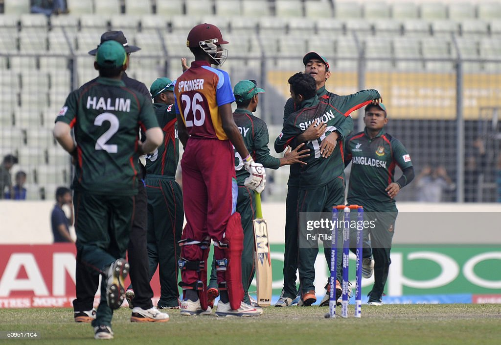 Saleh Ahmed Shawon Gazi of Bangladesh U19 celebrates the wicket of Jyd Goolie of West Indies U19 during the ICC U 19 World Cup Semi-Final match between Bangladesh and West Indies on February 11, 2016 in Dhaka, Bangladesh.