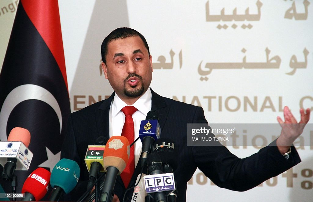 Saleh alMakzom Libyan deputy president of the General National Congress speaks during a press conference on January 29 2015 in Tripoli to announce...
