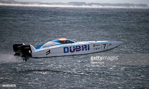 Salem Al Adidi and Eisa Al Ali of Dubai compete in the race for Pole Position on day 1 of the Gold Coast GP fourth round of the UIM XCAT World Series...