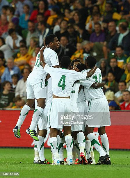 Salem Mohammed of Saudi Arabia celebrates his goal during the Group D 2014 FIFA World Cup Asian Qualifier match between Australia and Saudi Arabia at...