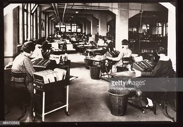 Sales Accounting Department Rowntree factory York Yorkshire 1924 Women possibly work at cardex machines