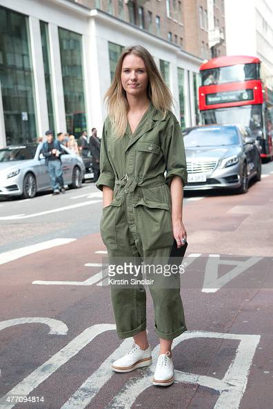 Sales and Marketing assistant for Nigel Cabourn Rachel Spires wears a vintage jumpsuit and Grenson shoes on day 2 of London Collections Men on June...