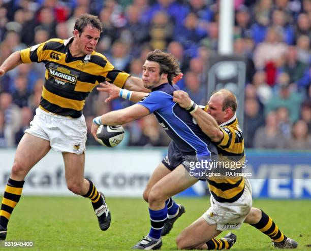 Sales' Ben Foden is tackled by Wasps' Lawrence Dallaglio during the Guinness Premiership semifinal at Edgeley Park Sale