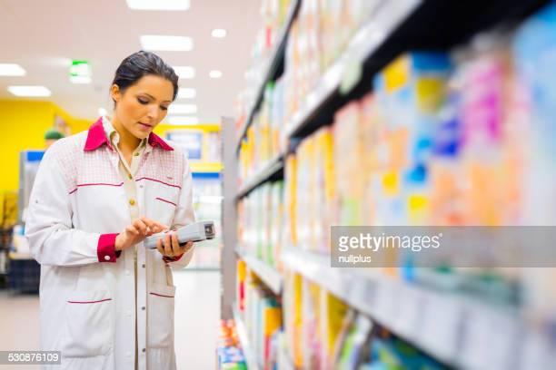 sales clerk at the supermarket