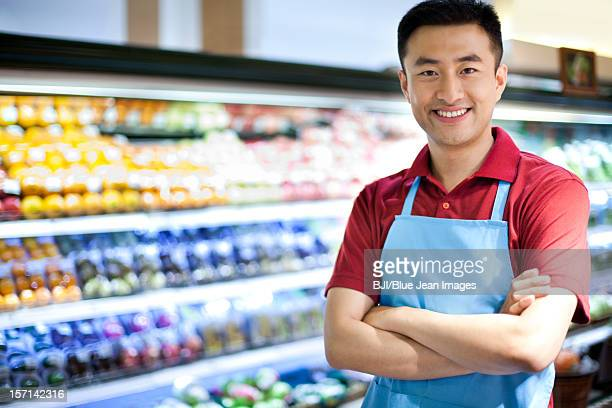 Sales clerk in supermarket