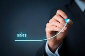 Increase company sales concept. Businessman plan sales growth.'n