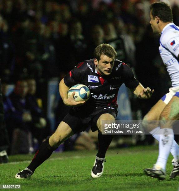 Sale's Mark Cueto looks for a way round the Montpellier defence during the European Challenge Cup match at Edgeley Park Stockport