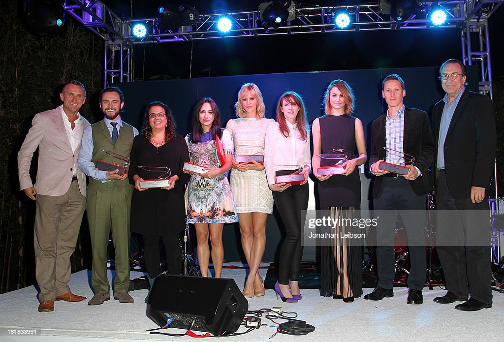 SVP Sales, North America at British Airways Simon Brooks, actor George Blagden, writer/director Sally El Hosaini, musician Lauren Harris, actors Georgia King, Alexandra McGuinness and Tuppence Middleton, writer Ed Whitworth and Vice President and Executive Editor Variety Steven Gaydos pose onstage during British Airways and Variety Celebrate The Inaugural A380 Service Direct from Los Angeles to London and Discover Variety's 10 Brits to Watch on September 25, 2013 in Los Angeles, California.