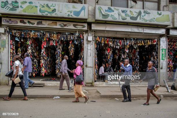 Sales of footwear Street scene in Nairobi capital of Kenya on May 15 2017 in Nairobi Kenya