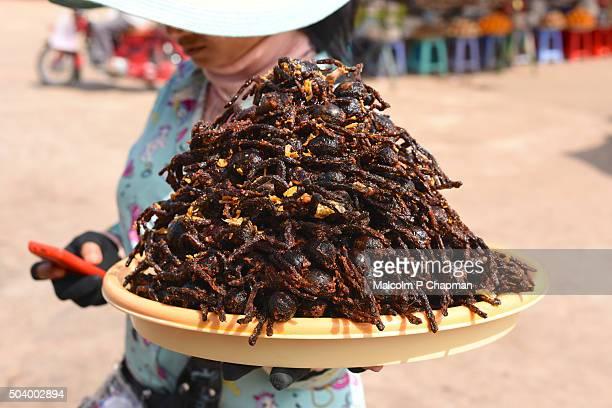 Sales person with bowl of fried Tarantulas, Skuon, Cambodia