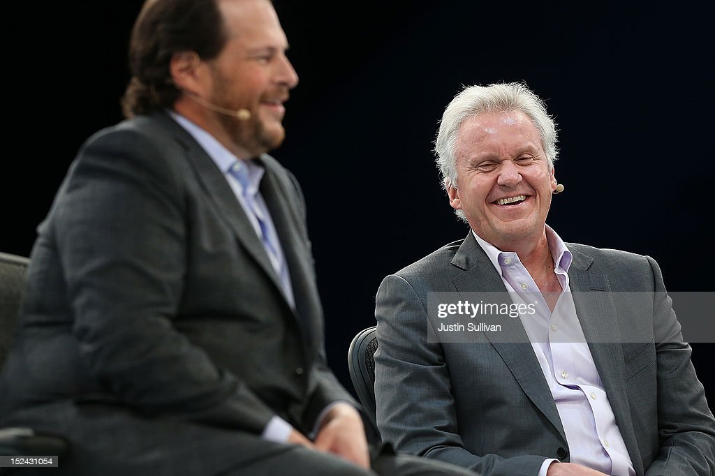 Salesforce CEO <a gi-track='captionPersonalityLinkClicked' href=/galleries/search?phrase=Marc+Benioff&family=editorial&specificpeople=6871116 ng-click='$event.stopPropagation()'>Marc Benioff</a> (L) and General Electric CEO Jeff Immelt (R) share a laugh during the Dreamforce 2012 conference at the Moscone Center on September 20, 2012 in San Francisco, California. A reported 90,000 people registered to attend the cloud computing industry conference Dreamforce 2012 that runs through September 21.