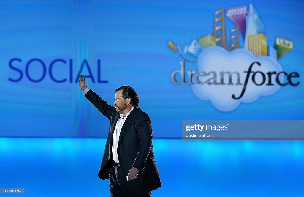 Salesforce CEO Marc Benioff delivers the keynote address during the Dreamforce 2012 conference at the Moscone Center on September 19, 2012 in San Francisco, California. A reported 90,000 people registered to attend the cloud computing industry conference Dreamforce 2012 that runs through September 21.