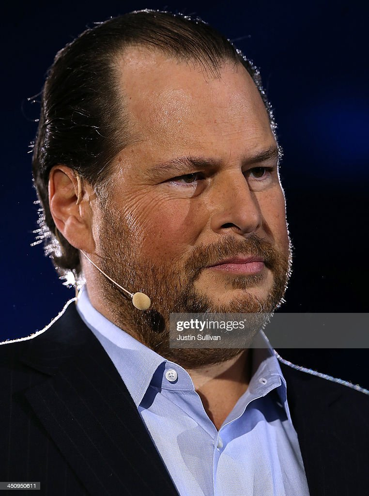 Salesforce chairman and CEO <a gi-track='captionPersonalityLinkClicked' href=/galleries/search?phrase=Marc+Benioff&family=editorial&specificpeople=6871116 ng-click='$event.stopPropagation()'>Marc Benioff</a> looks on at the 2013 Dreamforce conference on November 20, 2013 in San Francisco, California. The annual Dreamforce conference runs through November 21.