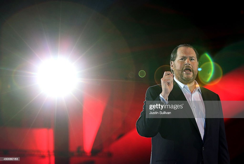 Salesforce chairman and CEO <a gi-track='captionPersonalityLinkClicked' href=/galleries/search?phrase=Marc+Benioff&family=editorial&specificpeople=6871116 ng-click='$event.stopPropagation()'>Marc Benioff</a> speaks during a keynote address at the 2013 Dreamforce conference on November 19, 2013 in San Francisco, California. The annual Dreamforce conference runs through November 21.