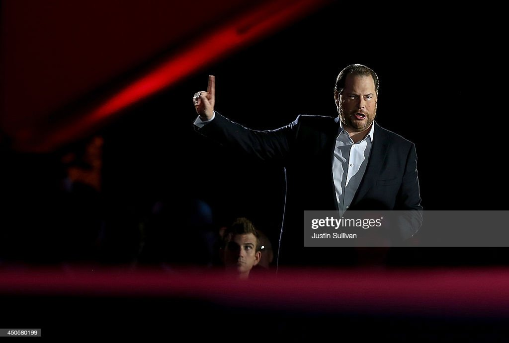 Salesforce chairman and CEO Marc Benioff speaks during a keynote address at the 2013 Dreamforce conference on November 19, 2013 in San Francisco, California. The annual Dreamforce conference runs through November 21.