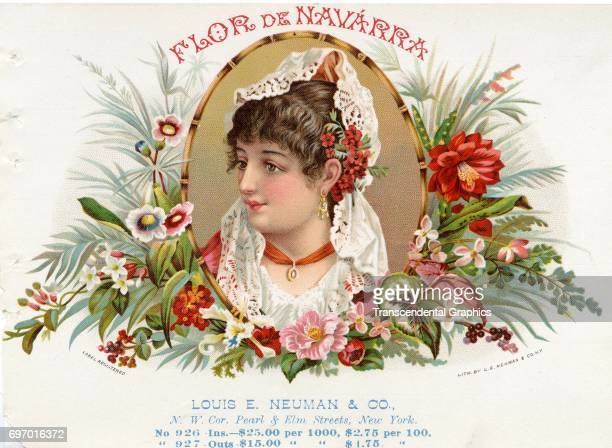 Salesman's sample cigar box label from Neuman Company entitled Flor De Navarra Chicago Illinois 1885