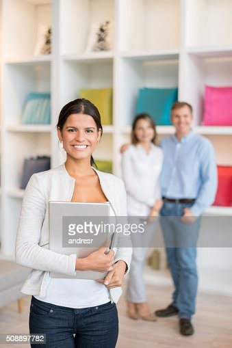 Saleswoman working at a furniture store