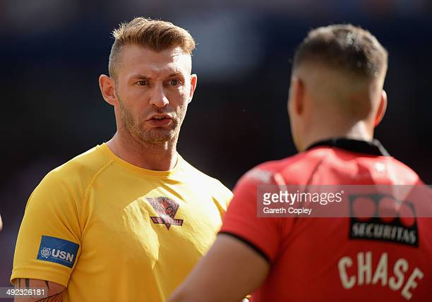 Salford assistant coach Sean Long during the Super League match between Widnes Vikings and Salford Red Devils at Etihad Stadium on May 17 2014 in...