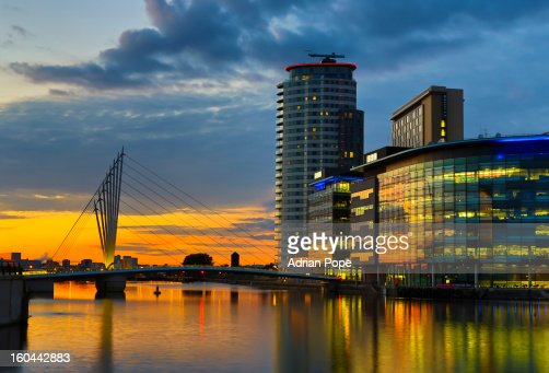 Salford Quays development in late evening light : Stock Photo