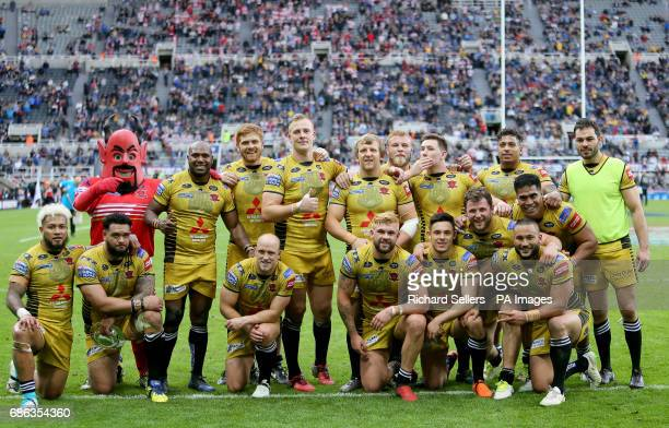Salford Reds celebrate their win over Leigh during day two of the Betfred Super League Magic Weekend at St James' Park Newcastle