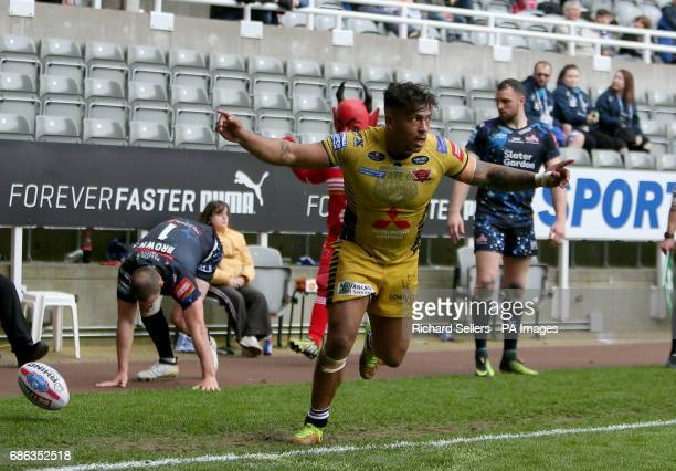 Salford Reds Greg Johnson celebrates his try during day two of the Betfred Super League Magic Weekend at St James' Park Newcastle