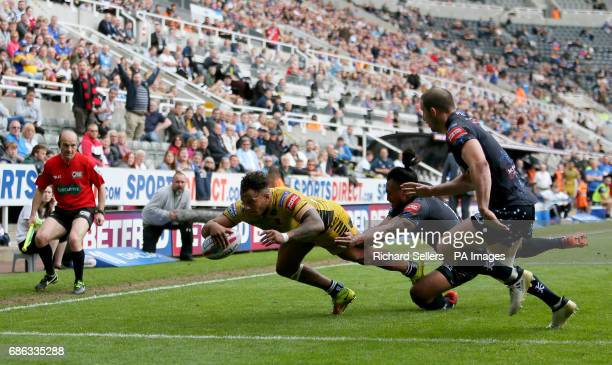 Salford Reds' Greg Johnson scores a try during day two of the Betfred Super League Magic Weekend at St James' Park Newcastle