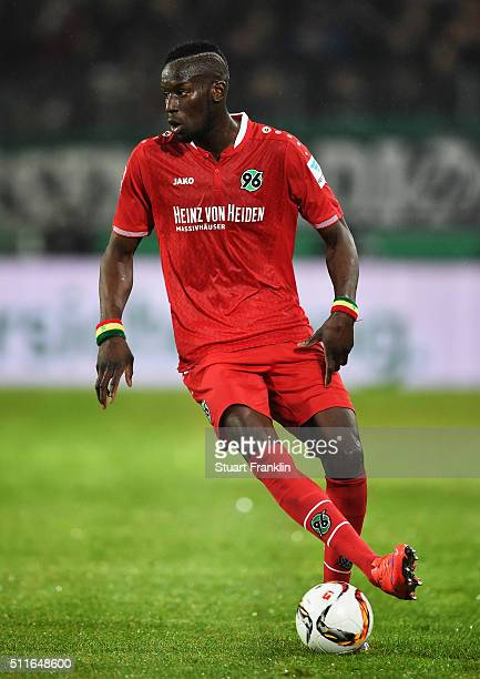 Salif Sané of Hannover in action during the Bundesliga match between Hannover 96 and FC Augsburg at HDIArena on February 21 2016 in Hanover Germany