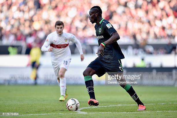 Salif Sane of Hannover 96 controls the ball during the Bundesliga match between VfB Stuttgart and Hannover 96 at MercedesBenz Arena on February 27...