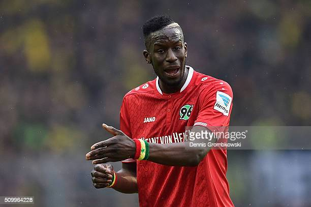 Salif Sane of Hannover 96 gestures during the Bundesliga match between Borussia Dortmund and Hannover 96 at Signal Iduna Park on February 13 2016 in...