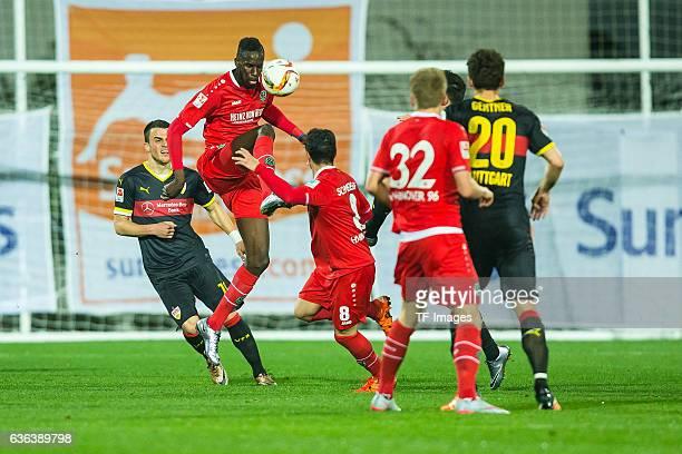 Salif Sane of Hannover 96 Manuel Schmiedebach of Hannover 96 Leonardo Bittencourt of Hannover 96 and Christian Gentner of VfB Stuttgart battle for...