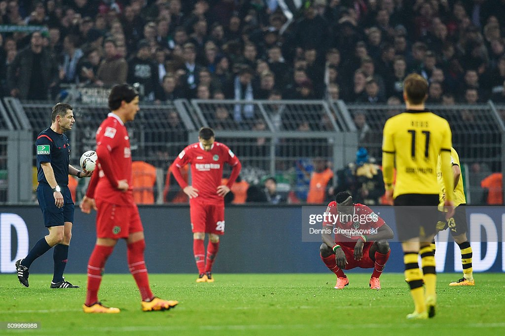 Salif Sane of Hannover 96 reacts after the Bundesliga match between Borussia Dortmund and Hannover 96 at Signal Iduna Park on February 13, 2016 in Dortmund, Germany.