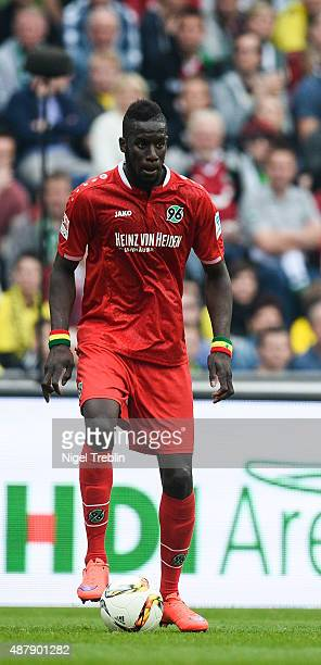 Salif Sane of Hannover controls the ball during Bundesliga match between Hannover 96 and Borussia Dortmund at HDIArena on September 12 2015 in...