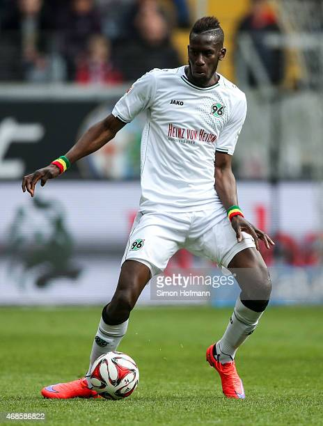 Salif Sane of Hannover controls the ball during the Bundesliga match between Eintracht Frankfurt and Hannover 96 at CommerzbankArena on April 4 2015...