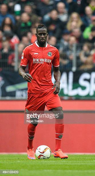 Salif Sane of Hannover controls the ball during the Bundesliga match between Hannover 96 and Eintracht Frankfurt at HDIArena on October 24 2015 in...