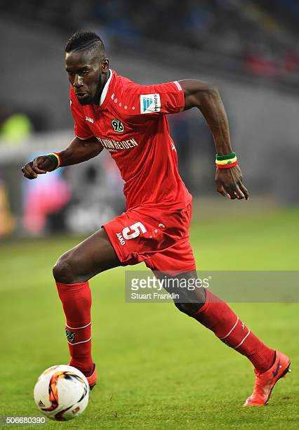 Salif Sane of Hannover in action during the Bundesliga match between Hannover 96 and SV Darmstadt 98 at HDIArena on January 23 2016 in Hanover Germany